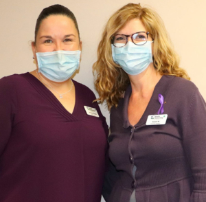 Staff wearing purple in support of Domestic Violence Month and Kallie and her family